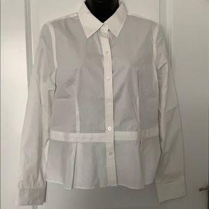 Ralph Lauren Petite white blouse pleats NWOT 10P